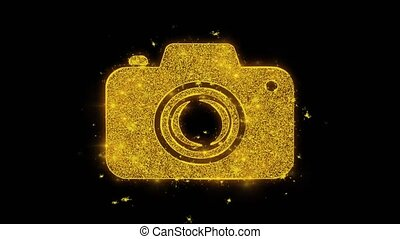 Camera Photography Icon Sparks Particles on Black Background.