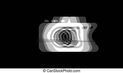 Camera Photography icon Vintage Twitched Bad Signal Animation.