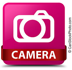 Camera pink square button red ribbon in middle