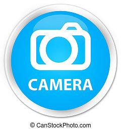 Camera premium cyan blue round button