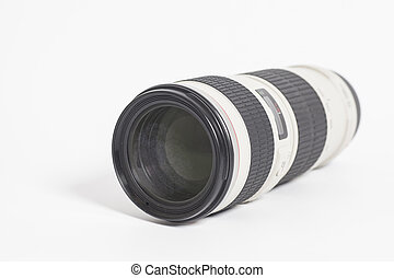 Camera  Professional photo lens over white background