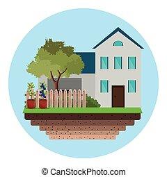 camera recinzione, albero, giardino