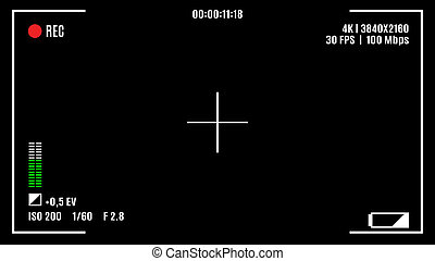 Camera recording screen, viewfinder on black background.