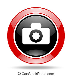 camera red and black web glossy round icon