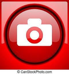 camera red icon plastic glossy button
