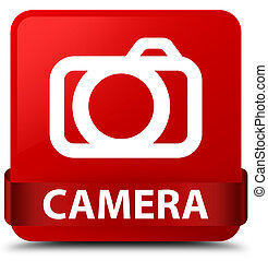 Camera red square button red ribbon in middle