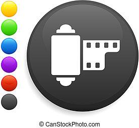camera reel icon on round internet button