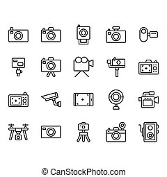 Camera related icon set. Vector illustration