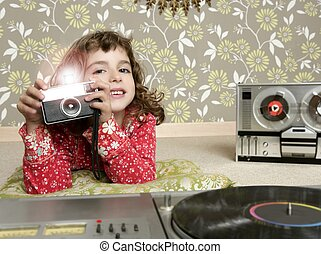 camera retro photo little girl in vintage room