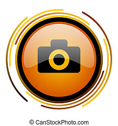 camera round design orange glossy web icon