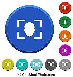 Camera selfie mode beveled buttons