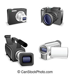 camera set - The collection of cameras isolated on a white...