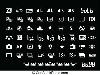 Camera settings symbols - Vector camera settings symbols for...