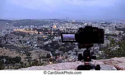 Camera shoots photo of the Jerusalem Old City