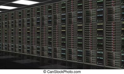 camera shot along row of network servers