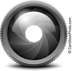 Camera Shutter Aperture isolated on white. Vector Illustration