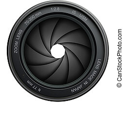 camera shutter - camera lens shutter, isolated on white.