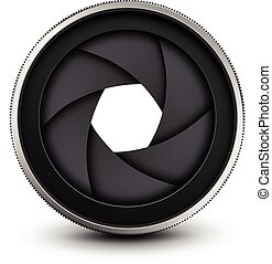 Camera shutter - Camera lens shutter, vector illustration.