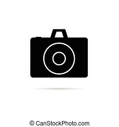 camera shutter icon in black color art illustration