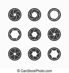 Camera shutter icons illustration