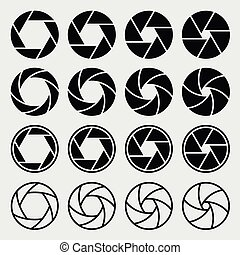 Camera shutter icons set. Aperture and photography, focus...