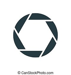 Camera shutter, simple conceptual logo. Vector illustration