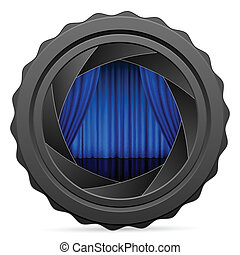 camera shutter with blue curtain