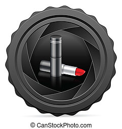 camera shutter with lipstick