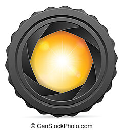 Camera shutter with sunspot on white background. Vector illustration.
