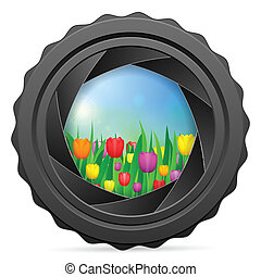 camera shutter with tulips