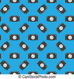Camera sign seamless pattern on blue background