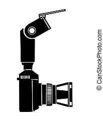 camera silhouette on white background, vector illustration