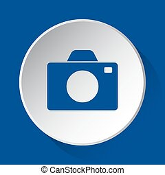 camera - simple blue icon on white button
