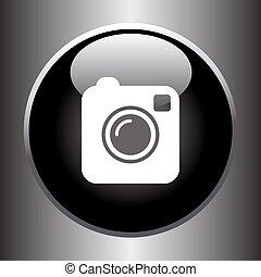 Camera simple icon on black button