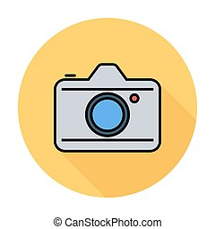 Camera. Single flat color icon on the circle. Vector ...