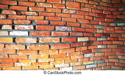 Camera slides along volumetric brick wall. The concept of...