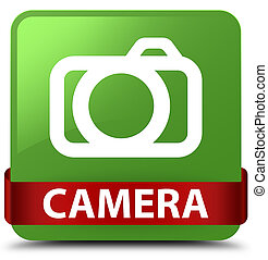 Camera soft green square button red ribbon in middle
