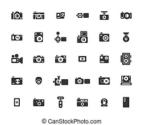 Camera Solid Icon Set ,Vector Illustration.