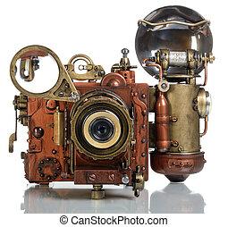 camera steampunk - Photo camera on a white background. Style...