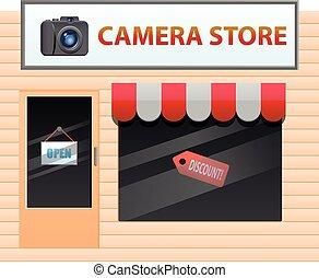 Camera store vector icon