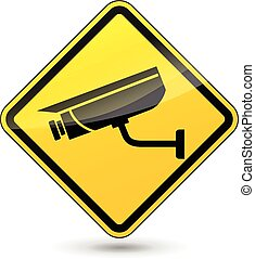 camera surveillance sign - illustration of yellow sign for...