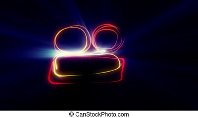 camera symbol drawing line neon ray light