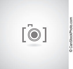 Camera symbol on gray background