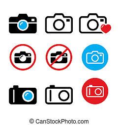 Camera, taking photos, no camera sign vector icons set