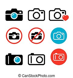 Camera, taking photos, no camera sign vector icons set