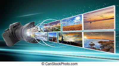 Camera taking pictures - Illustration of photographies going...