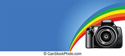 Camera - The photo camera digital, face.  Vector image