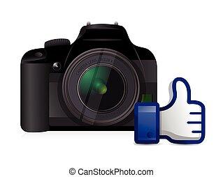 camera thumbs up like