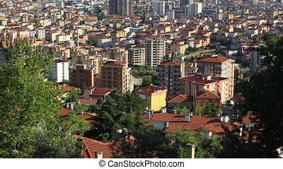 Camera tilts up. Istanbul's districts extend far from the...