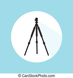 Camera Tripod Digital Technology Equipment Pro Silhouette Icon Vector Illustration
